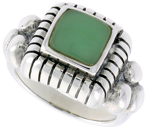 Sterling Silver Ring, w/ 8mm Square-shaped Green Resin, 1/2 inch (13 mm) wide