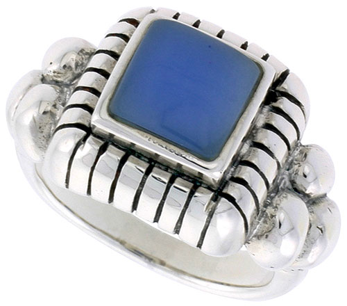Sterling Silver Ring, w/ 8mm Square-shaped Blue Resin, 1/2 inch (13 mm) wide