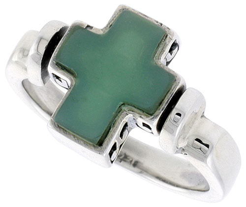 Sterling Silver Cross Ring w/ Green Resin, 1/2 inch (12 mm) wide