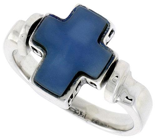 Sterling Silver Cross Ring w/ Blue Resin, 1/2 inch (12 mm) wide