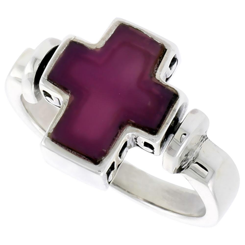 Sterling Silver Cross Ring w/ Purple Resin, 1/2 inch (12 mm) wide