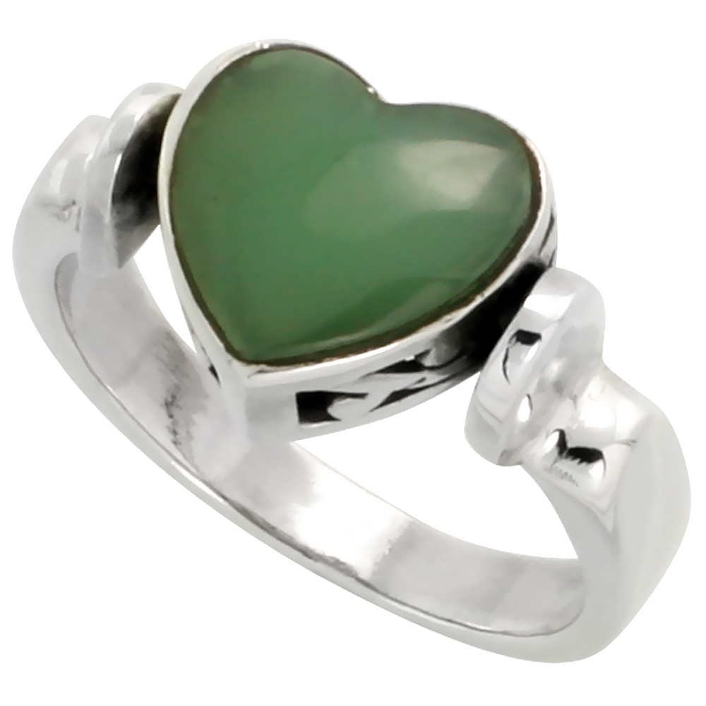 Sterling Silver Heart Ring w/ Green Resin, 3/8 inch (10 mm) wide