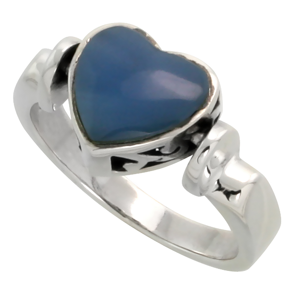 Sterling Silver Heart Ring w/ Blue Resin, 3/8 inch (10 mm) wide