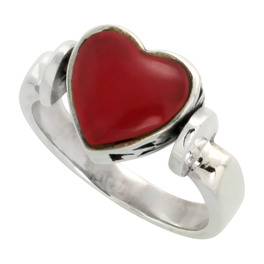 Sterling Silver Heart Ring w/ Red Resin, 3/8 inch (10 mm) wide