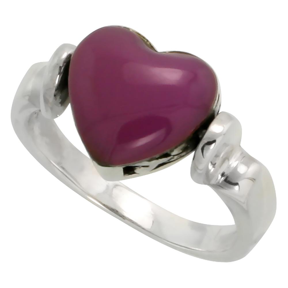 Sterling Silver Heart Ring w/ Purple Resin, 3/8 inch (10 mm) wide