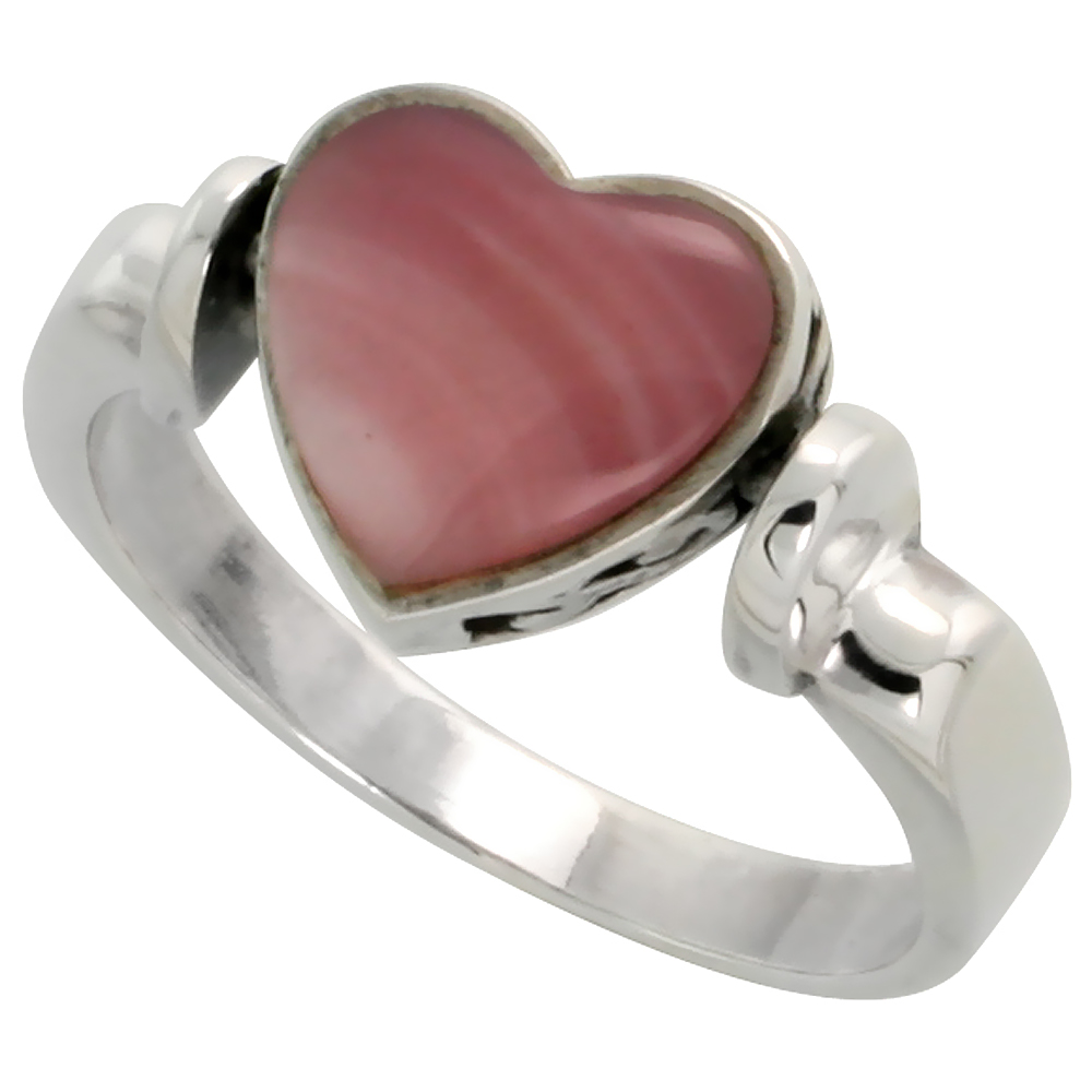 Sterling Silver Heart Ring w/ Pink Mother of Pearl, 3/8 inch (10 mm) wide