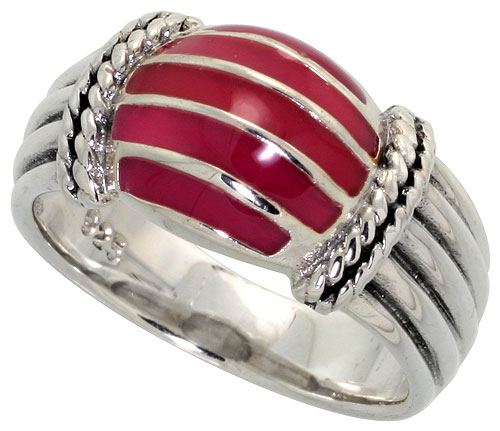 Sterling Silver Dome Ring, w/ Red Resin, 3/8 inch (10 mm) wide