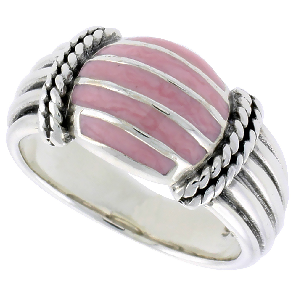 Sterling Silver Dome Ring, w/ Pink Mother of Pearl, 3/8 inch (10 mm) wide