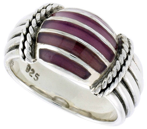 Sterling Silver Dome Ring, w/ Dark Violet Enamel, 3/8 inch (10 mm) wide