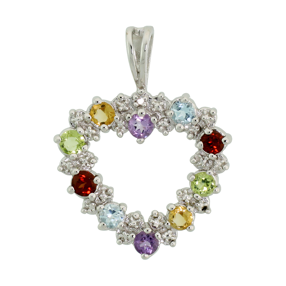 "Sterling Silver Cut Out Heart Pendant w/ 3mm Brilliant Cut Natural Multi-Color Gem Stones, 13/16"" (21 mm) tall; w/ 18 in. Box Ch"