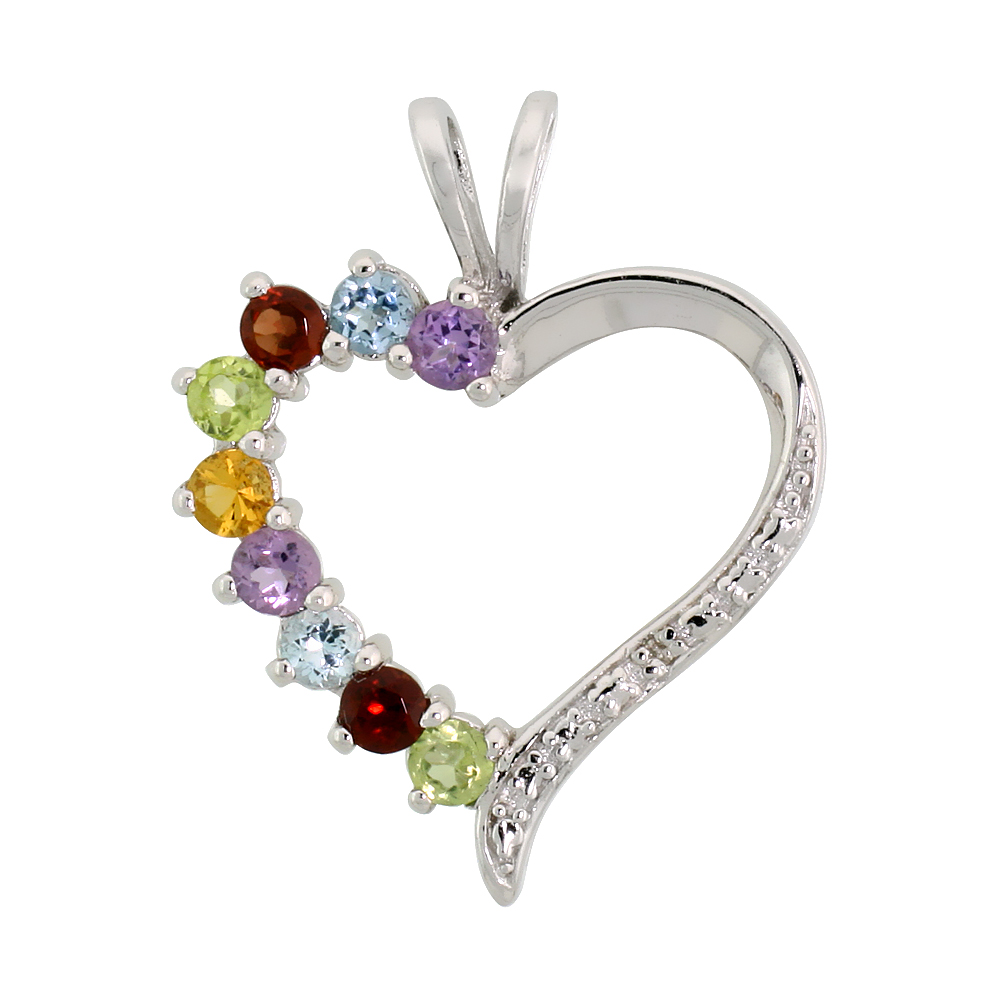 "Sterling Silver Cut Out Heart Pendant w/ 3mm Brilliant Cut Natural Multi-Color Gem Stones, 7/8"" (22 mm) tall; w/ 18 in. Box Chai"