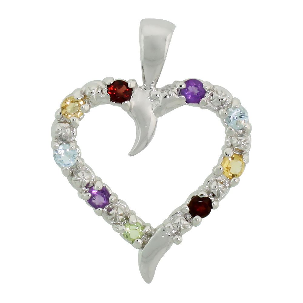 "Sterling Silver Cut Out Heart Pendant w/ 3mm Brilliant Cut Natural Multi-Color Gem Stones, 3/4"" (19 mm) tall; w/ 18 in. Box Chai"