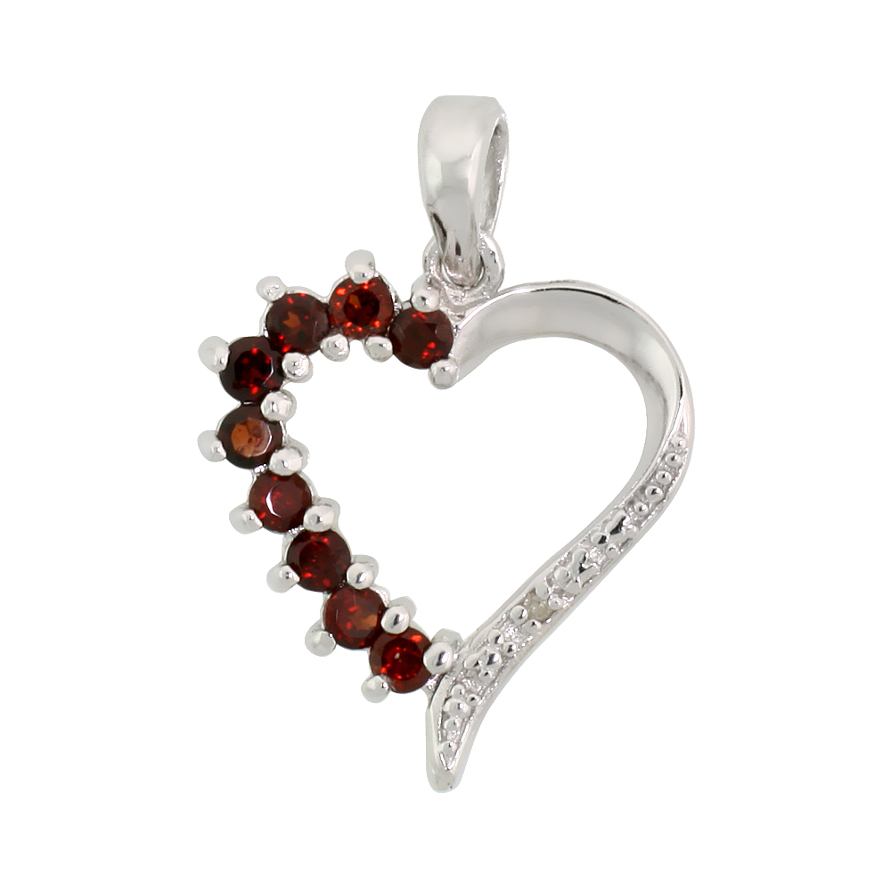 "Sterling Silver Cut Out Heart Pendant w/ 2mm Brilliant Cut Natural Garnet Stones, 3/4"" (19 mm) tall; w/ 18 in. Box Chain"