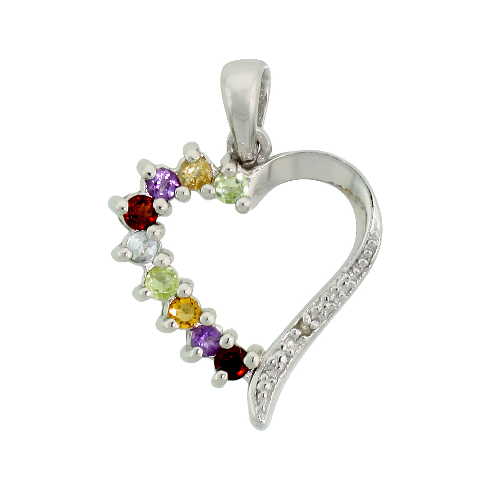 "Sterling Silver Cut Out Heart Pendant w/ 2mm Brilliant Cut Natural Multi-Color Gem Stones, 3/4"" (19 mm) tall; w/ 18 in. Box Chai"