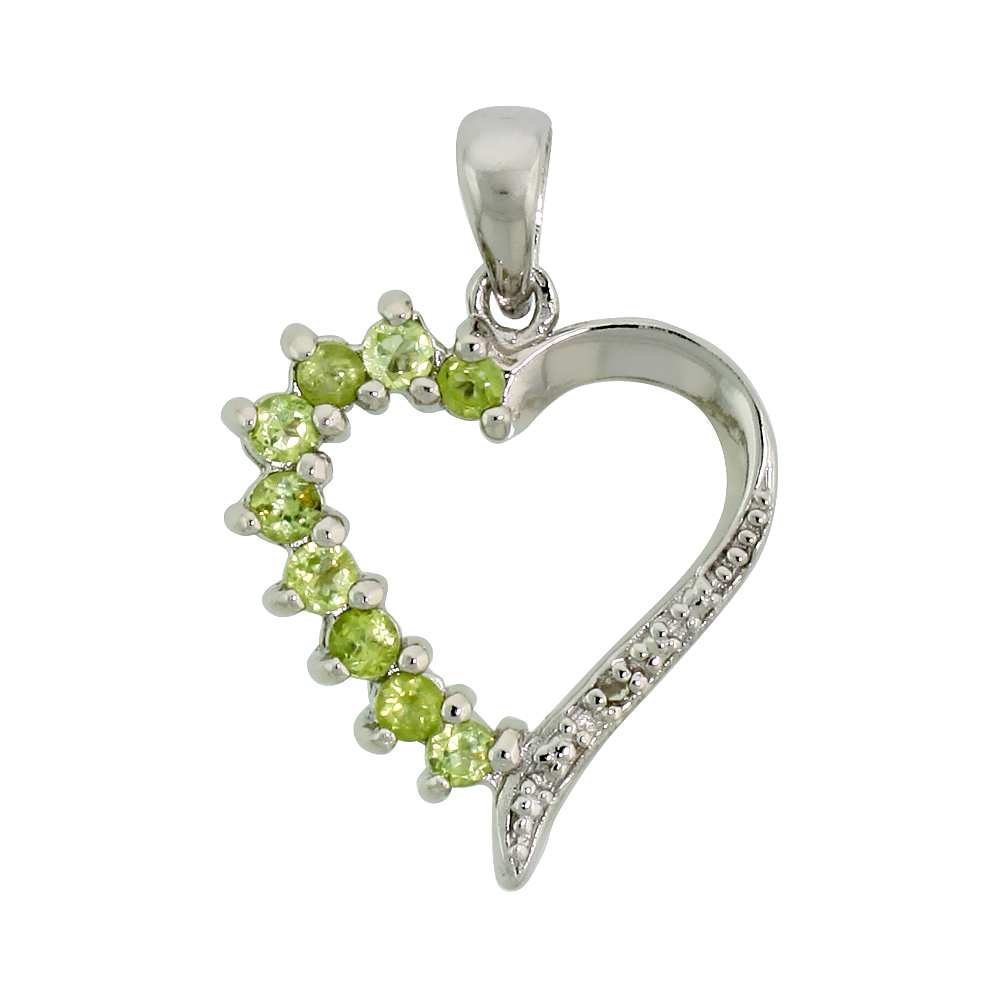"Sterling Silver Cut Out Heart Pendant w/ 2mm Brilliant Cut Natural Peridot Stones, 3/4"" (19 mm) tall; w/ 18 in. Box Chain"
