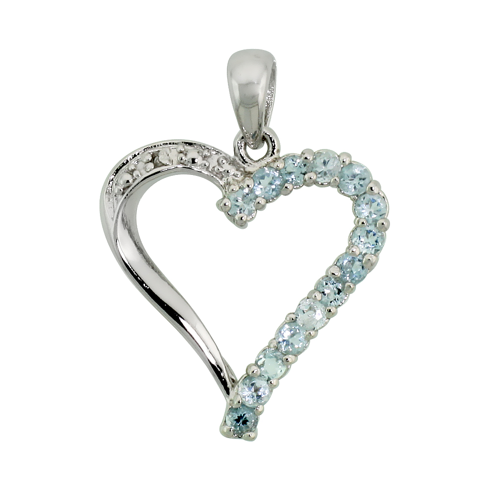 "Sterling Silver Cut Out Heart Pendant w/ 2mm Brilliant Cut Natural Blue Topaz Stones, 13/16"" (21 mm) tall; w/ 18 in. Box Chain"