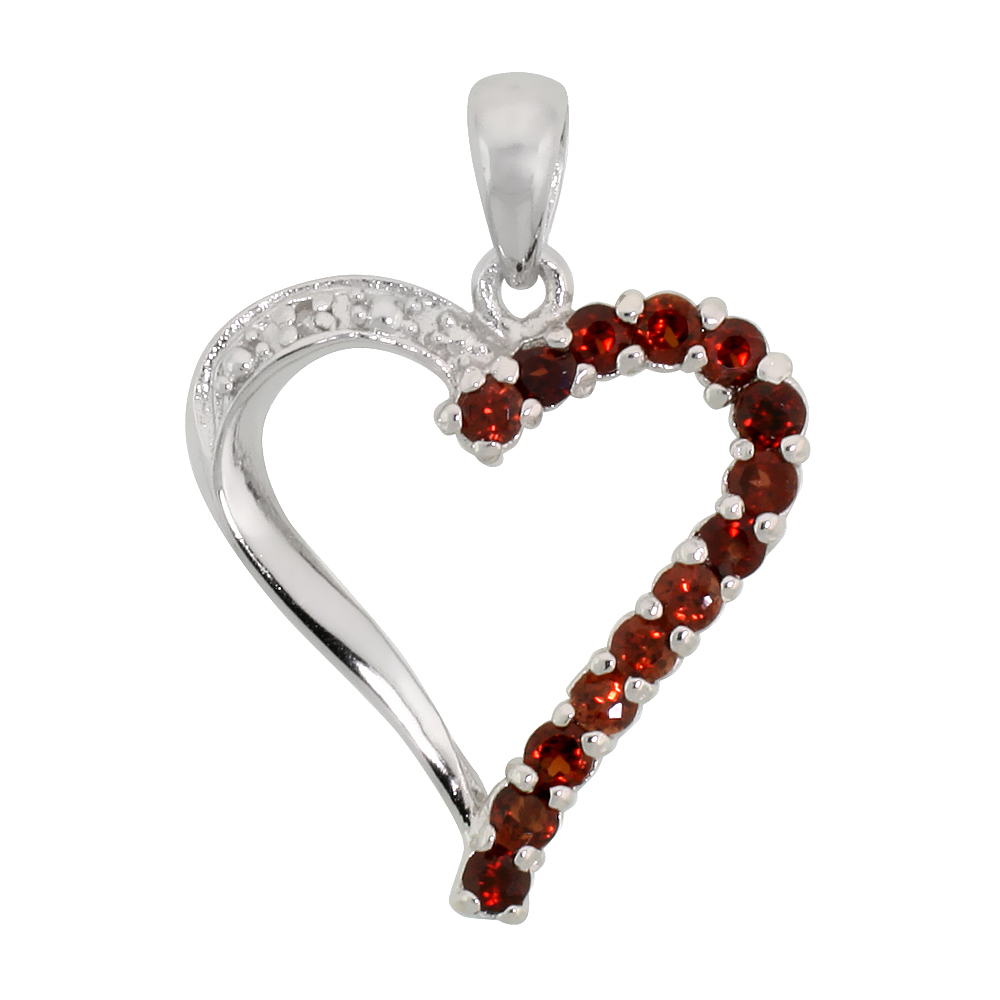 "Sterling Silver Cut Out Heart Pendant w/ 2mm Brilliant Cut Natural Garnet Stones, 13/16"" (21 mm) tall; w/ 18 in. Box Chain"