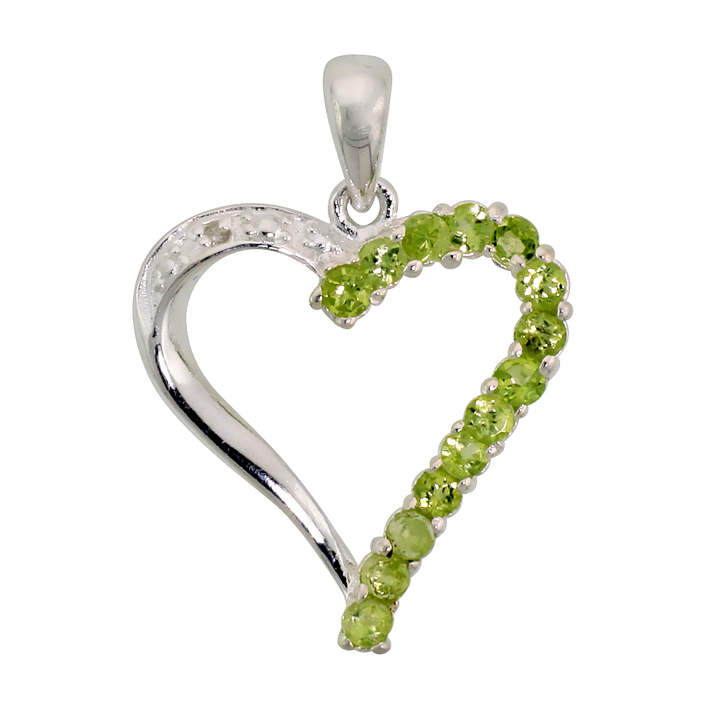 "Sterling Silver Cut Out Heart Pendant w/ 2mm Brilliant Cut Natural Peridot Stones, 13/16"" (21 mm) tall; w/ 18 in. Box Chain"