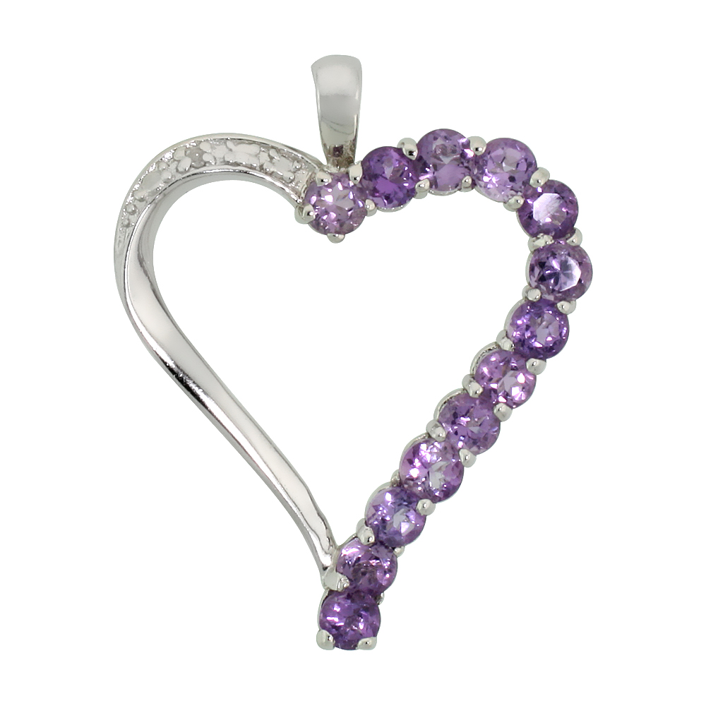 "Sterling Silver Cut Out Heart Pendant w/ 3mm Brilliant Cut Natural Amethyst Stones, 1"" (25 mm) tall; w/ 18 in. Box Chain"