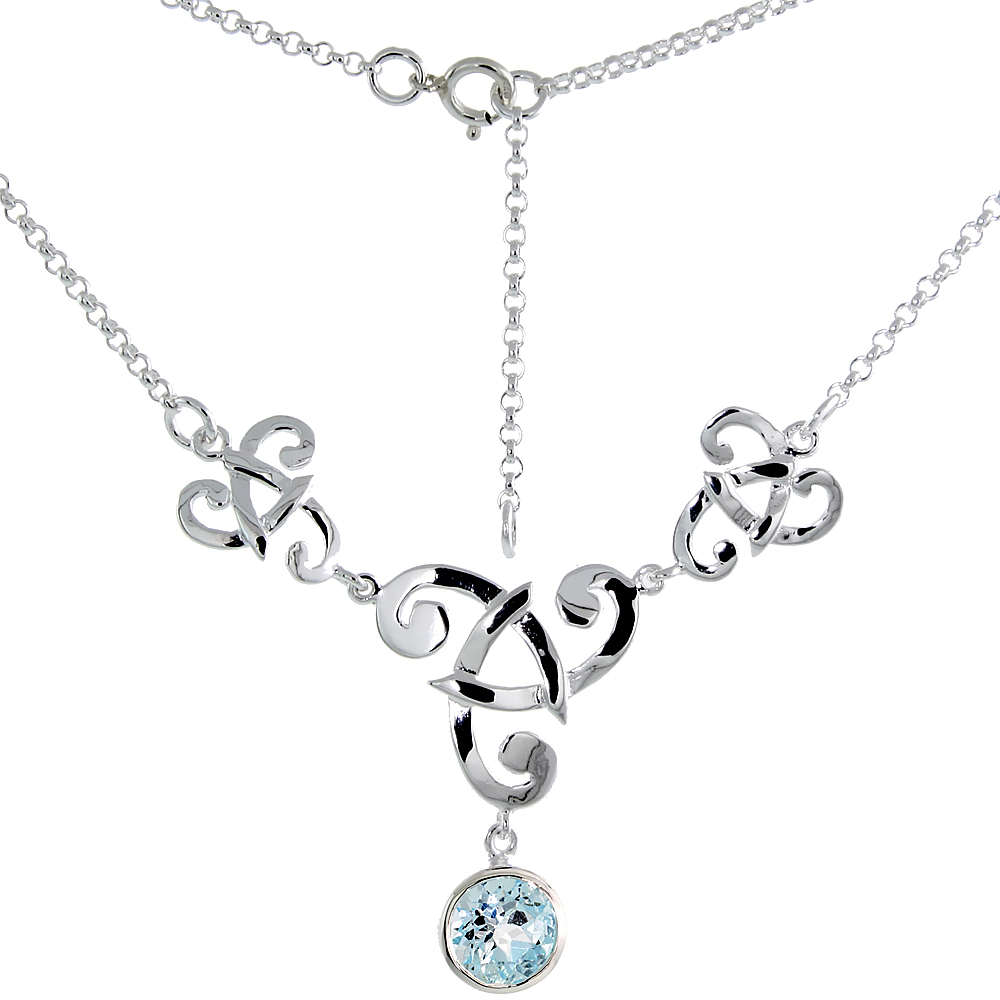 Sterling Silver Celtic Fish Trinity Triquetra Knot Necklace with Natural Blue Topaz, 16 inch long