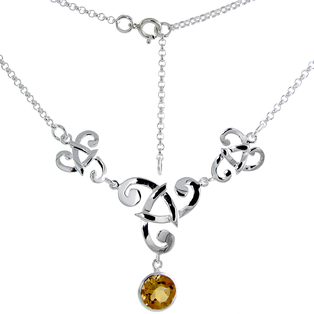 Sterling Silver Celtic Fish Trinity Triquetra Knot Necklace with Natural Citrine 16 inch long