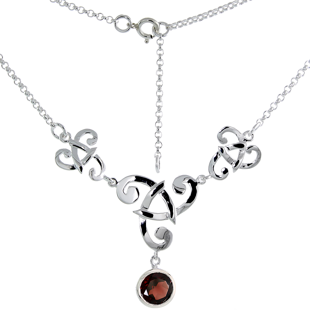Sterling Silver Celtic Fish Trinity Triquetra Knot Necklace with Natural Garnet 16 inch long