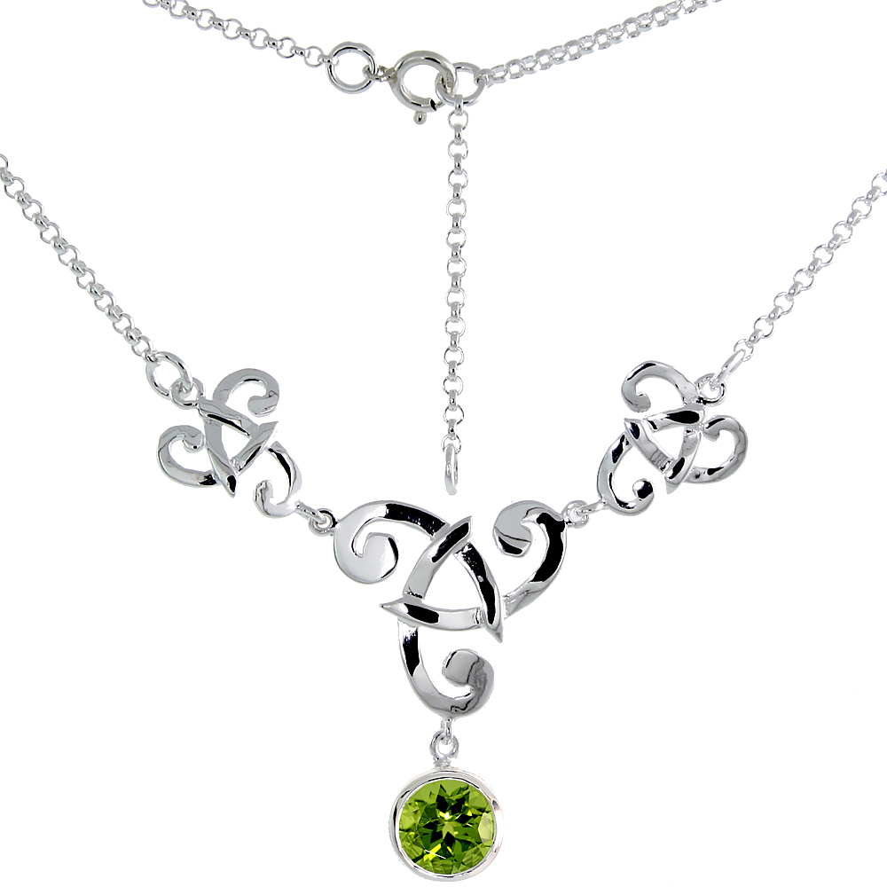 Sterling Silver Celtic Fish Trinity Triquetra Knot Necklace with Natural Peridot, 16 inch long