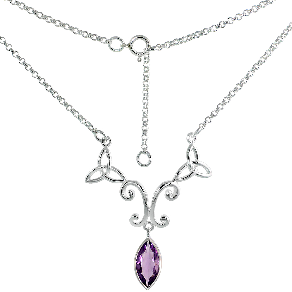 Sterling Silver Celtic Trinity Triquetra Knot Necklace with Natural Amethyst, 16 inch long