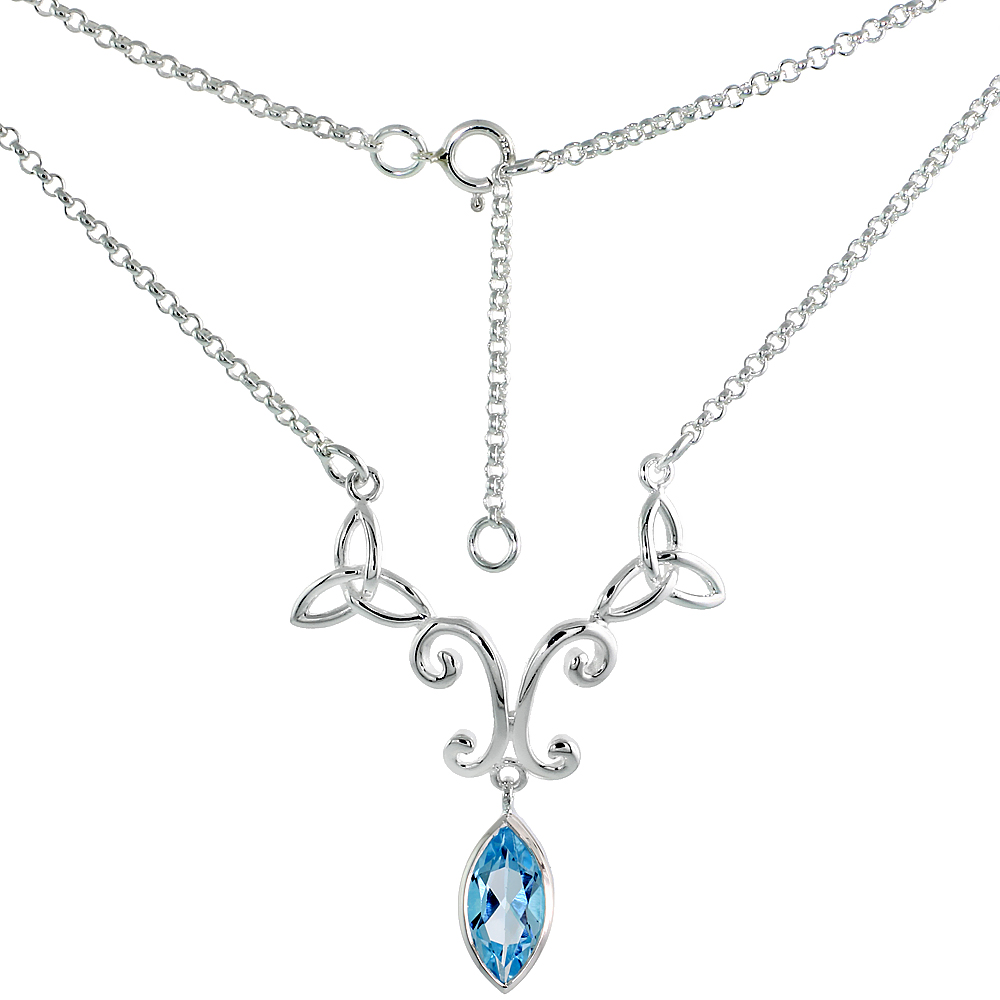 Sterling Silver Celtic Trinity Triquetra Knot Necklace with Natural Blue Topaz, 16 inch long