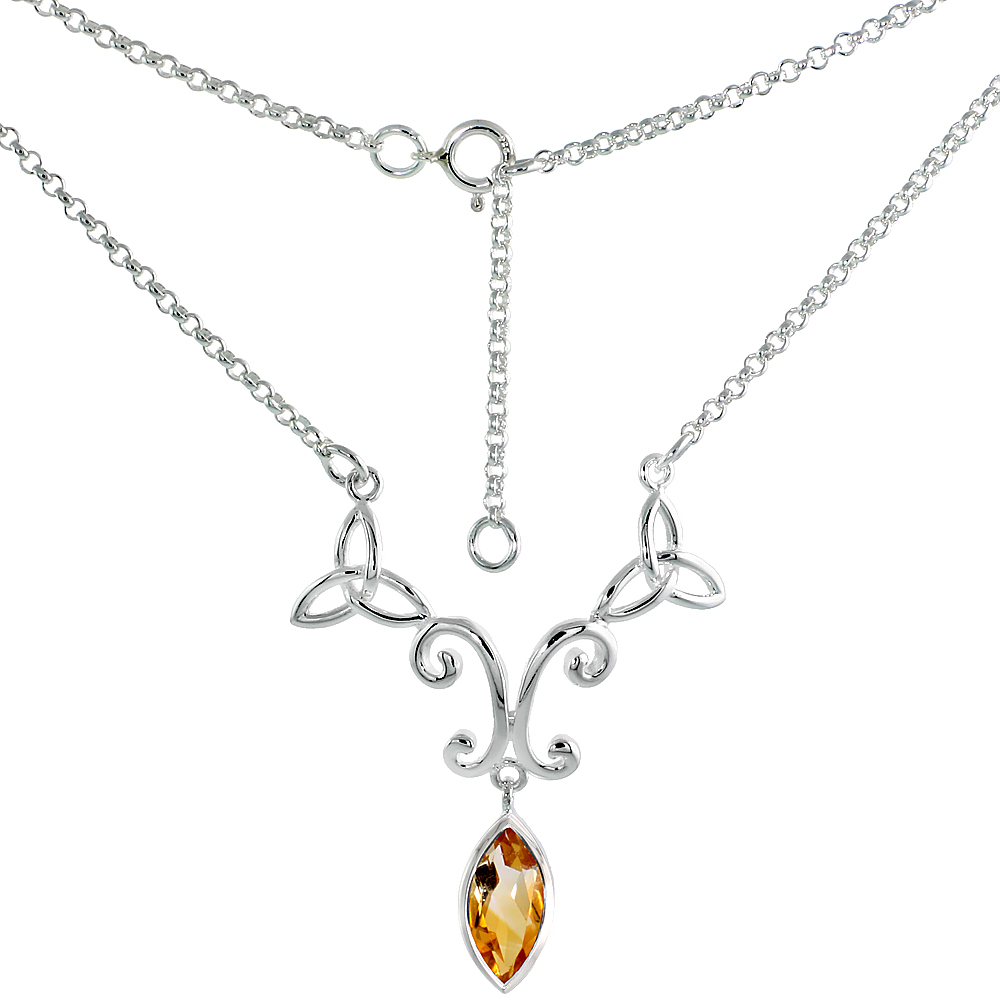 Sterling Silver Celtic Trinity Triquetra Knot Necklace with Natural Citrine 16 inch long