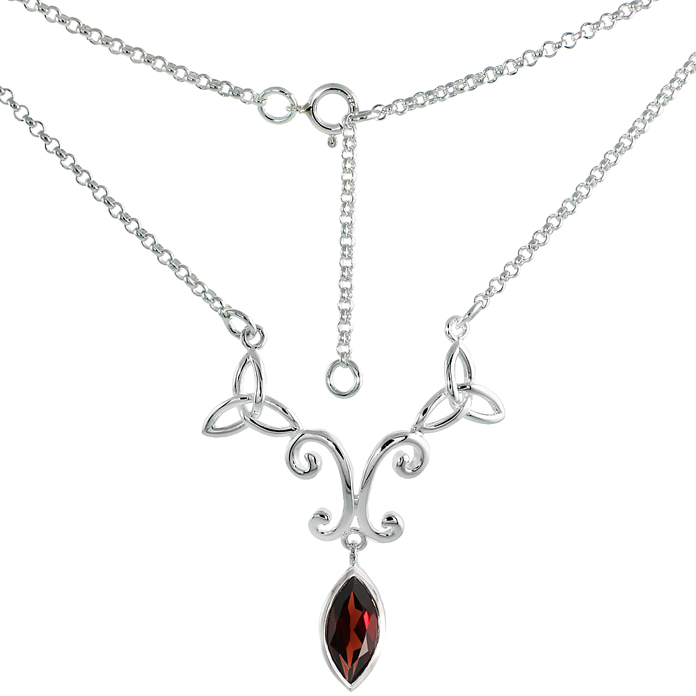 Sterling Silver Celtic Trinity Triquetra Knot Necklace with Natural Garnet 16 inch long