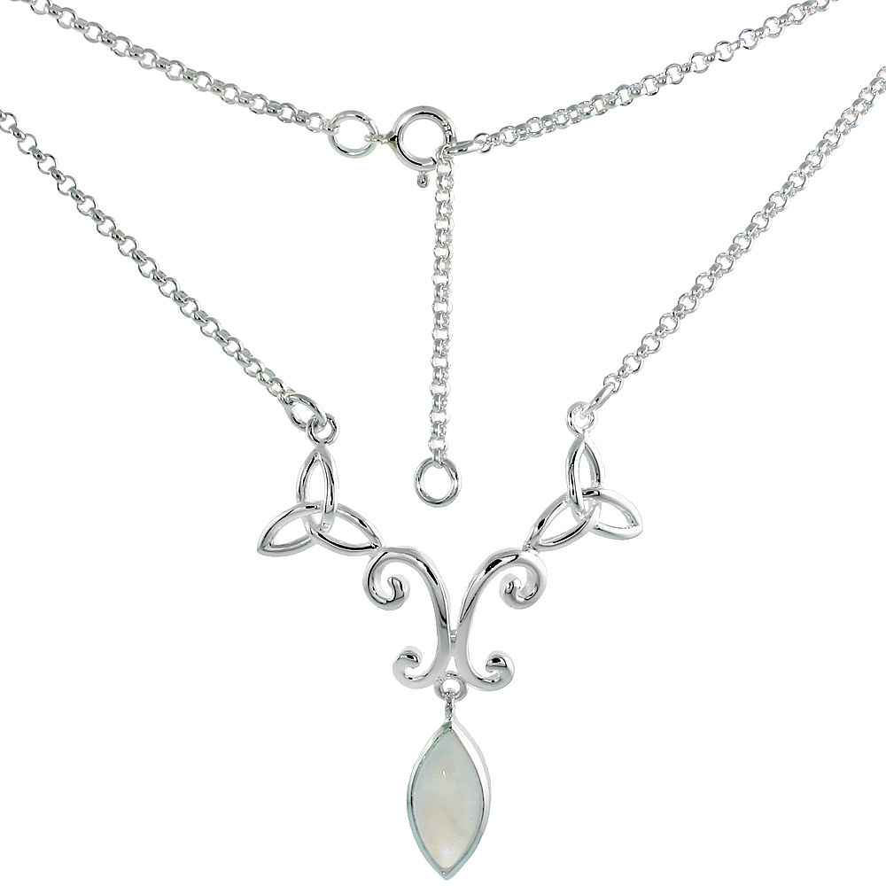 Sterling Silver Celtic Trinity Triquetra Knot Necklace with Natural Moonstone, 16 inch long