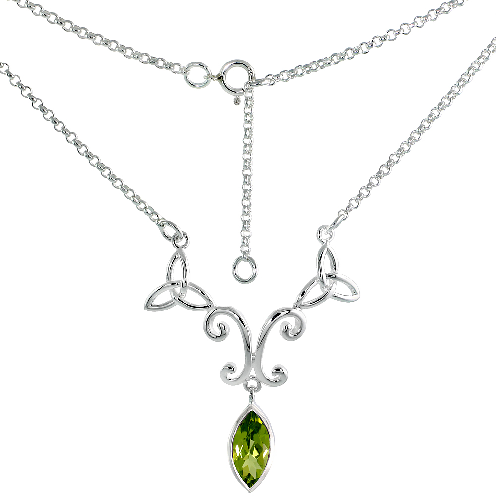 Sterling Silver Celtic Trinity Triquetra Knot Necklace with Natural Peridot, 16 inch long