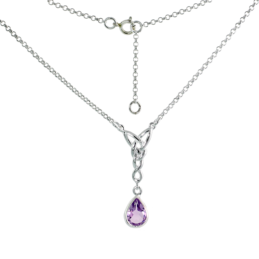 Sterling Silver Celtic Tear Drop Necklace with Natural Amethyst, 16 inch long