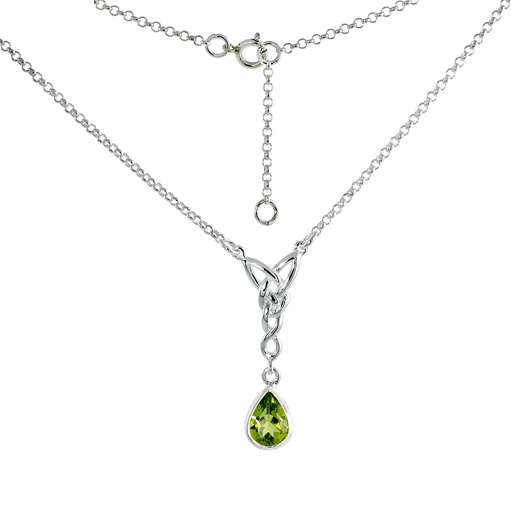 Sterling Silver Celtic Tear Drop Necklace with Natural Peridot, 16 inch long