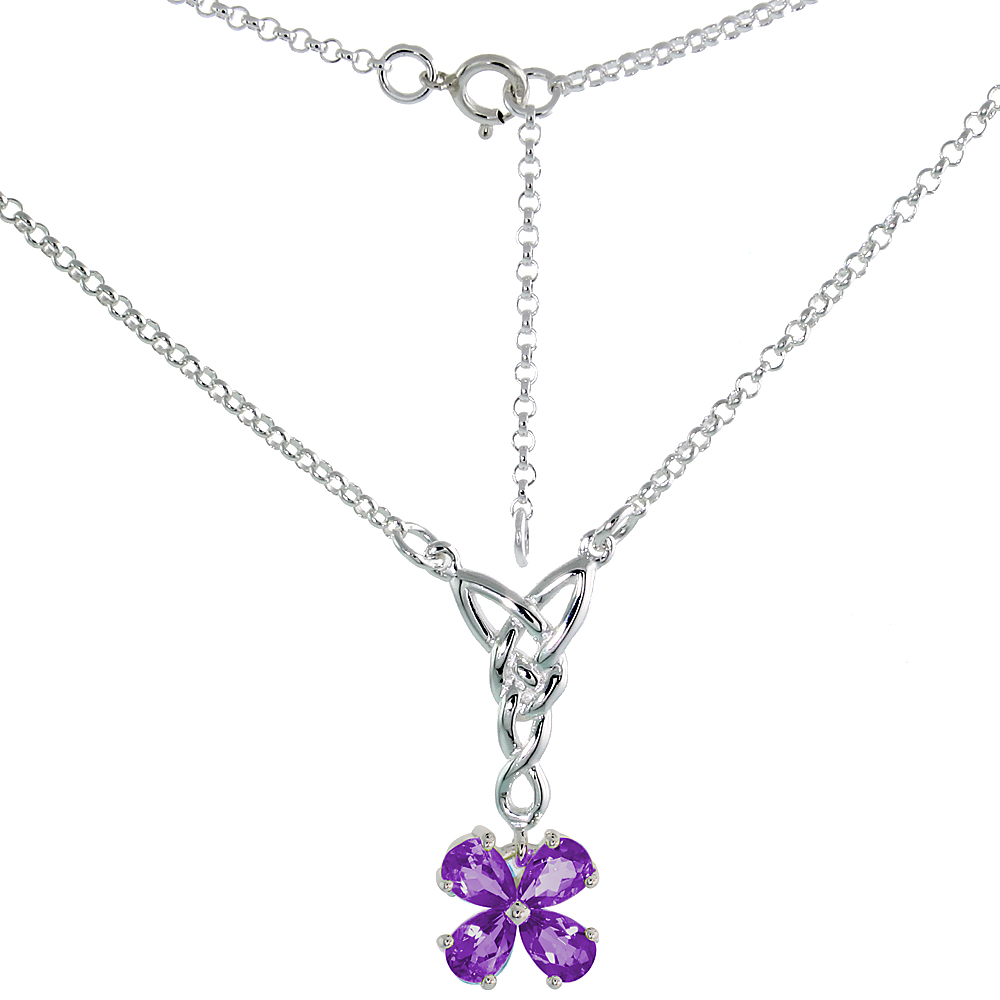 Sterling Silver Celtic 4-Leaf Clover Love Knot Necklace with Natural Amethyst, 16 inch long