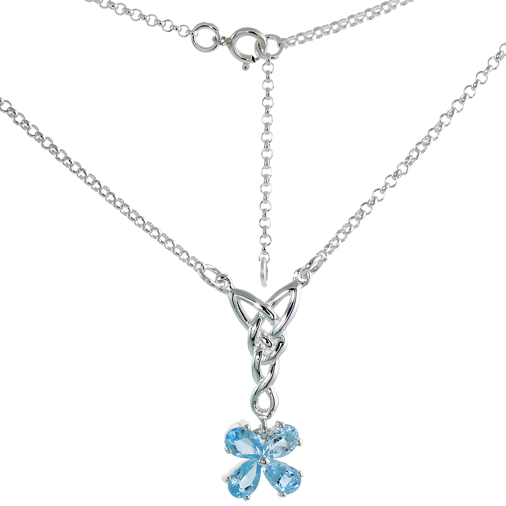 Sterling Silver Celtic 4-Leaf Clover Love Knot Necklace with Natural Blue Topaz, 16 inch long