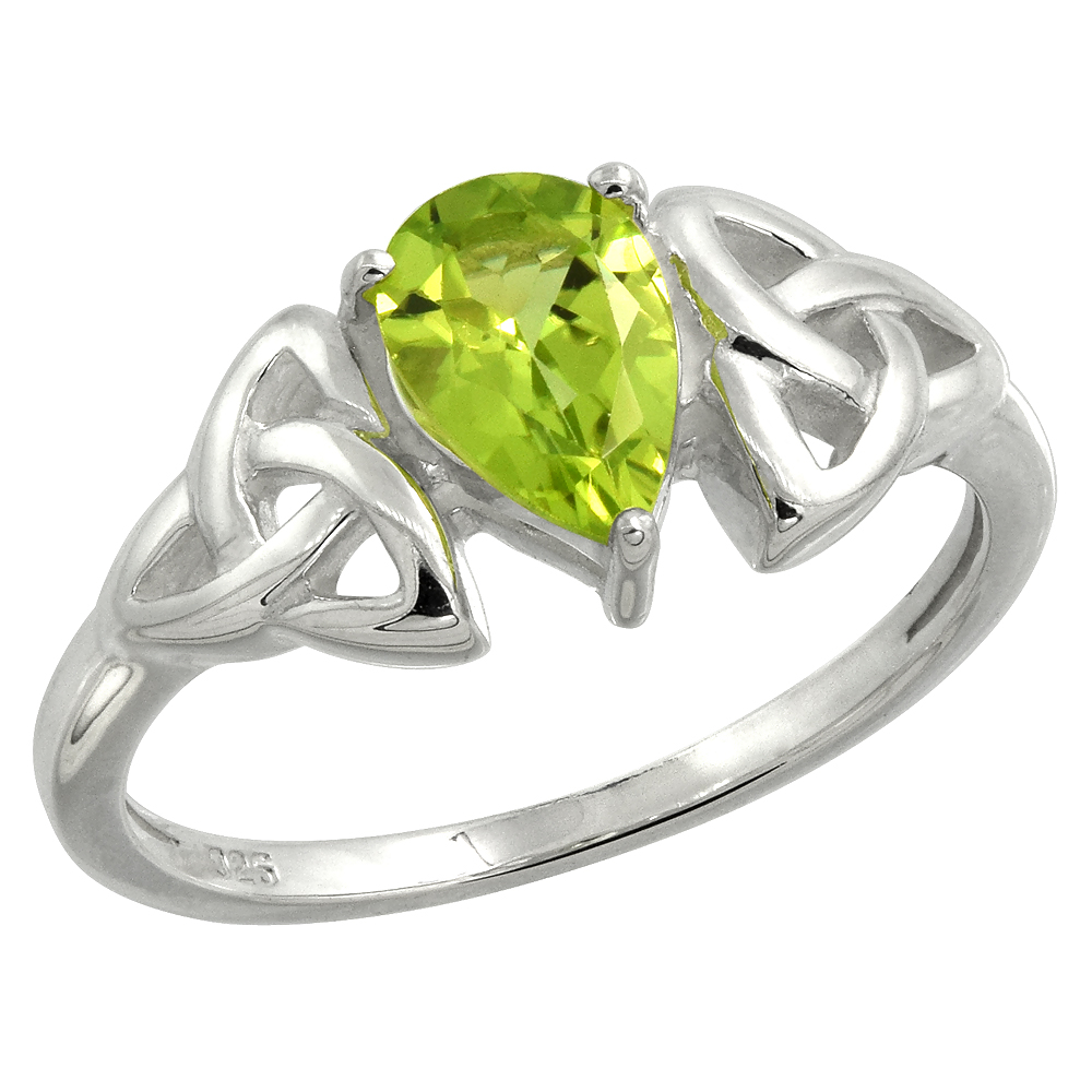 Sterling Silver Celtic Knot Trinity Ring with Natural Peridot 5/16 inch wide, sizes 6 - 10