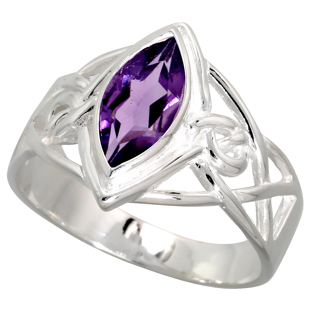 Sterling Silver Celtic Infinity Knot Ring with Natural Amethyst 1/2 inch wide, sizes 6 - 10