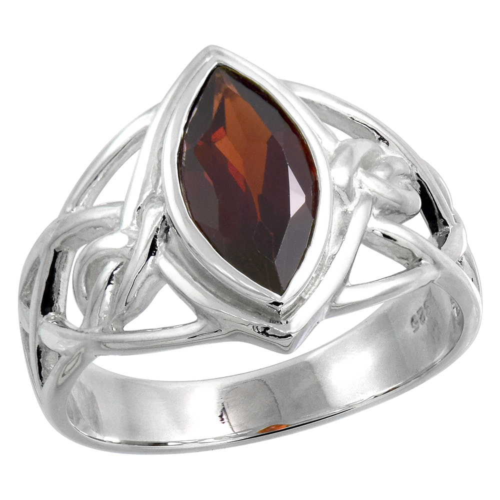 Sterling Silver Celtic Knot Ring with Natural Garnet 1/2 inch wide, sizes 6 - 10
