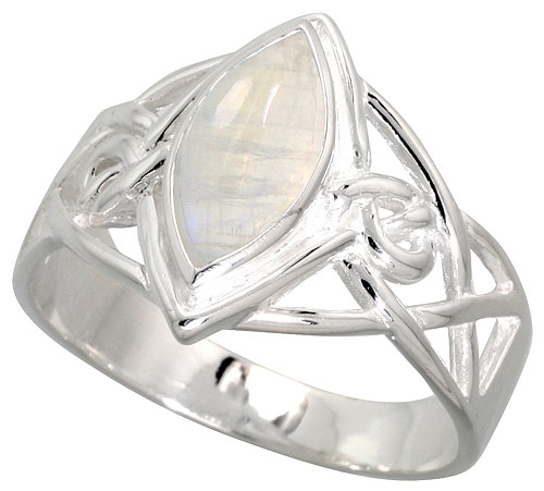 Sterling Silver Celtic Infinity Knot Ring with Natural Moonstone 1/2 inch wide, sizes 6 - 10