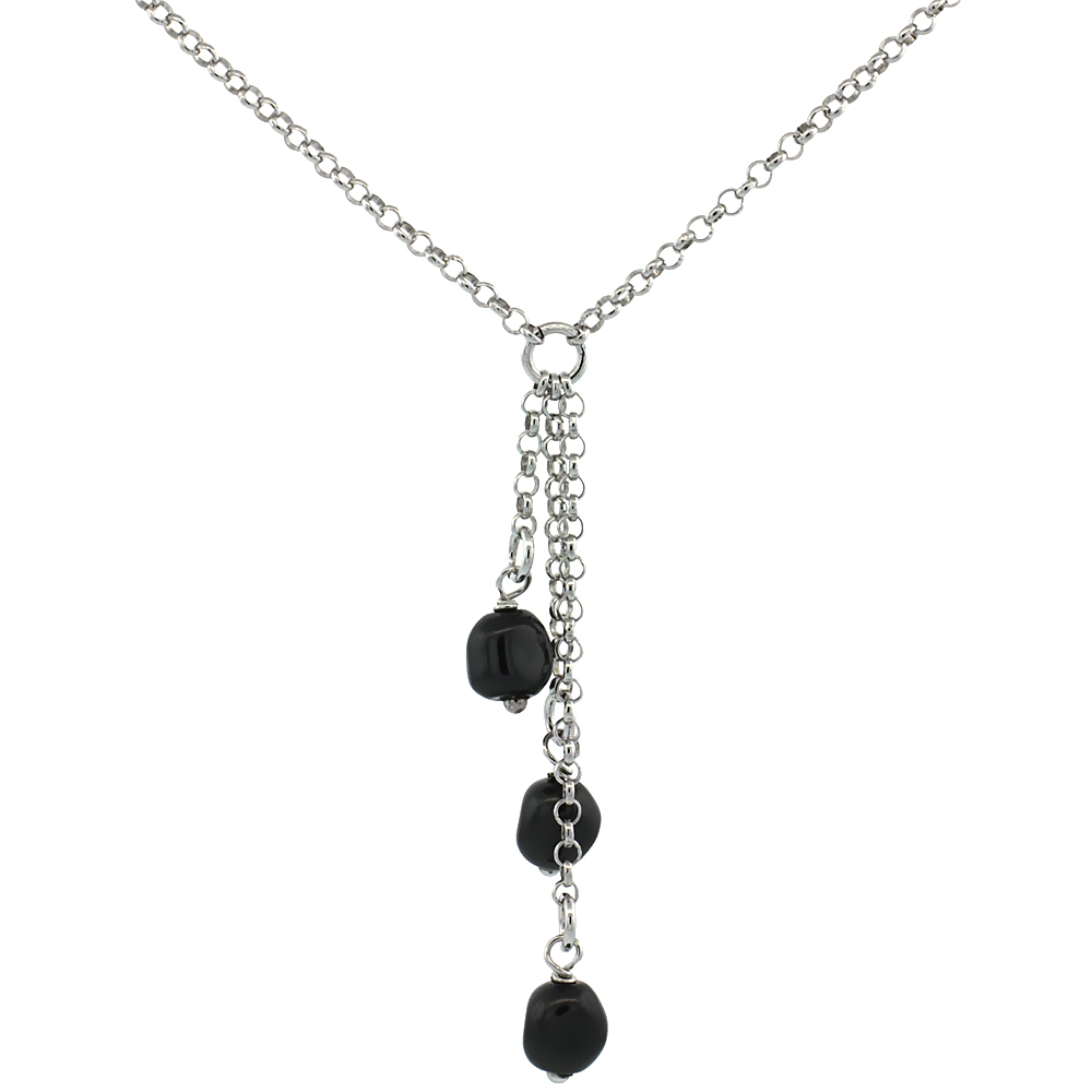 Sterling Silver Black Swarovski Pearls 16 in. Rolo Chain Link Necklace