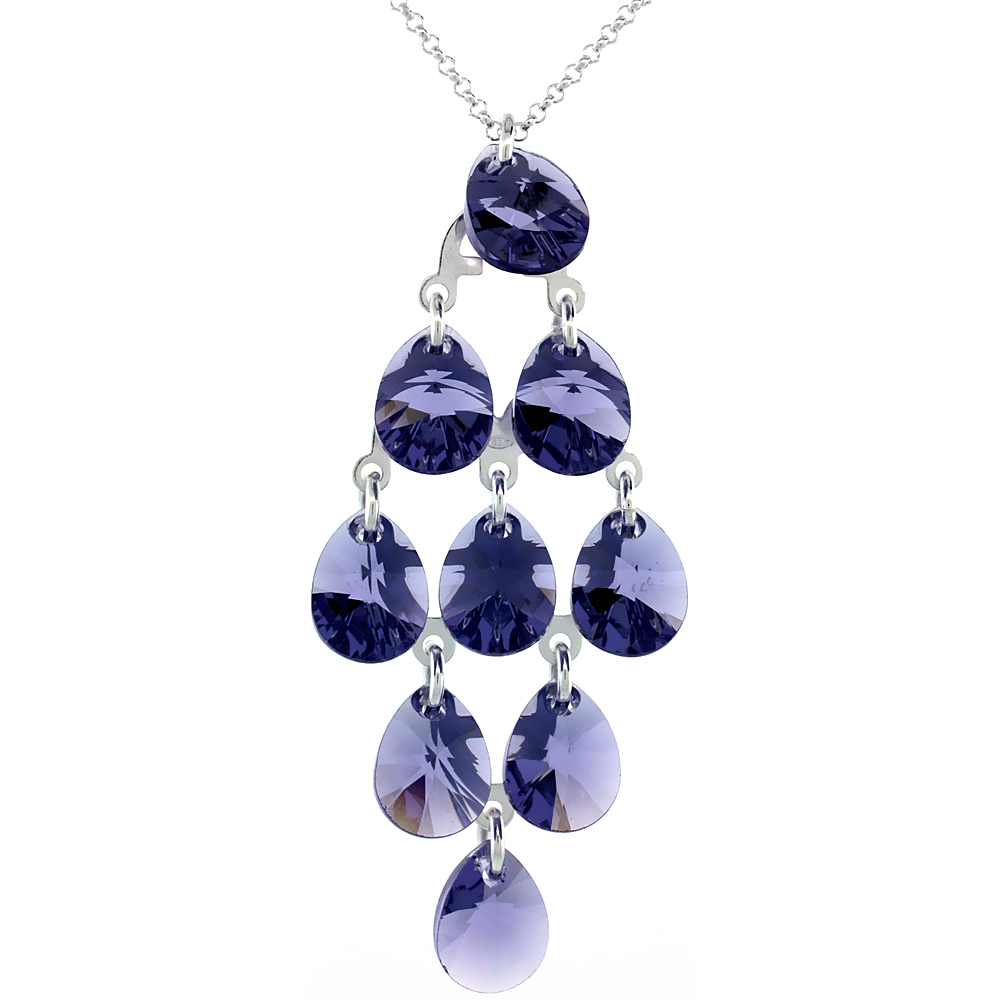 Sterling Silver Tanzanite Swarovski Crystals Chandelier Pendant 16 in. Rolo Chain Link Necklace