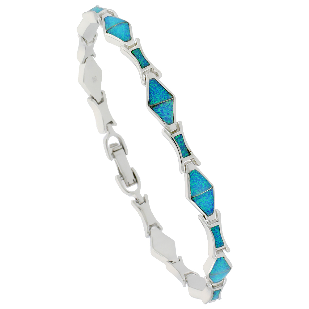 Sterling Silver Synthetic Opal Bracelet Diamond Shaped Links Hand Inlay 7 1/4 inch