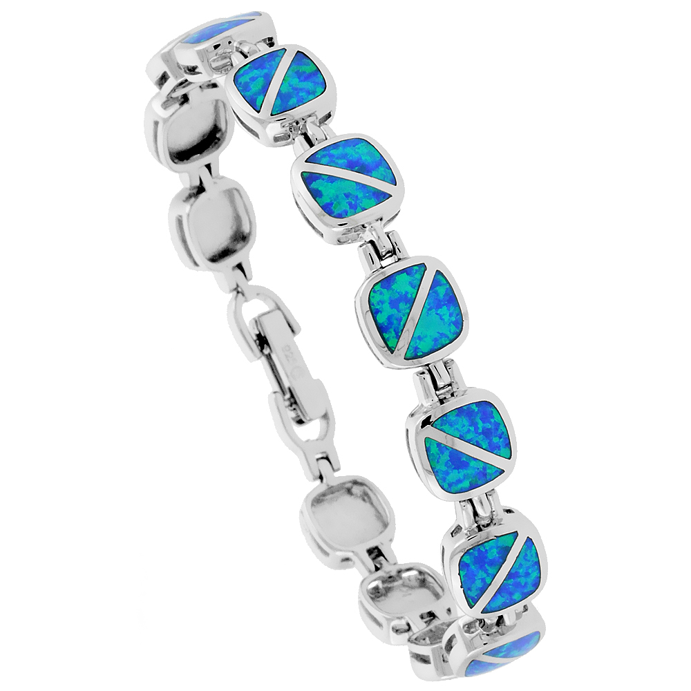 Sterling Silver Synthetic Opal Bracelet Square Links Rounded edges Hand Inlay 7 1/4 inch