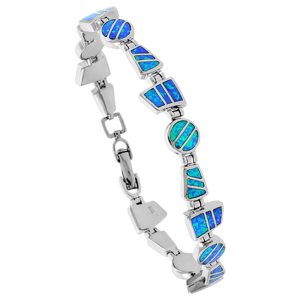 Sterling Silver Synthetic Opal Bracelet Round & Trapezoid links, 7 1/4 inch long