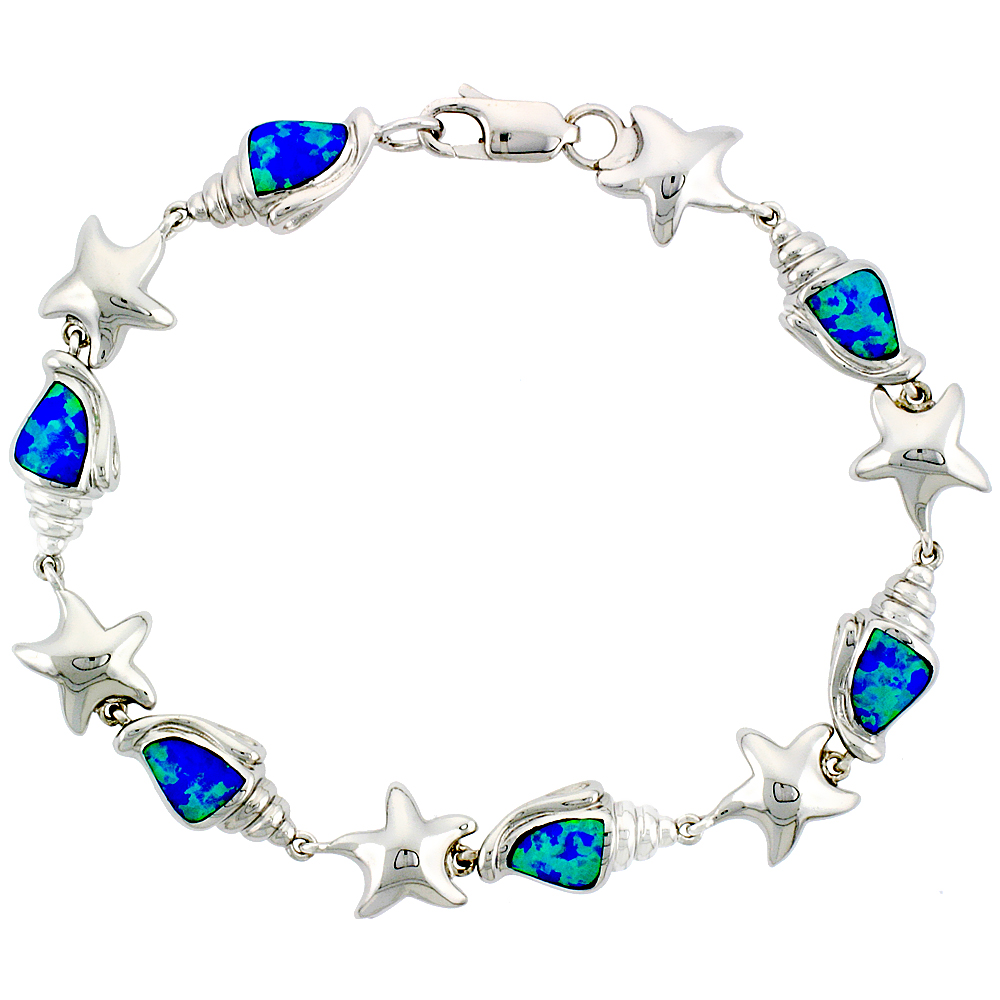 Sterling Silver Conch & Starfish  Bracelet Synthetic Opal Inlay 3/8 inch (10 mm) Wide