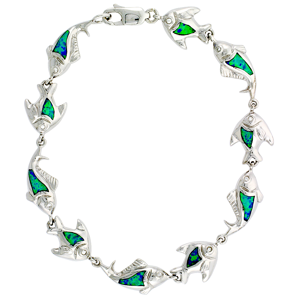 Sterling Silver Fish Bracelet Synthetic Opal Inlay, 3/8 inch (10 mm) x 7 1/4 inch