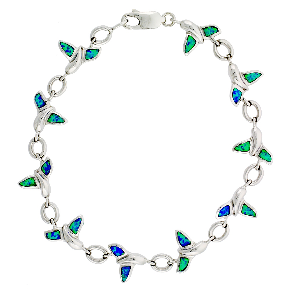 Sterling Silver Whale Tail Bracelet with Synthetic Opal Inlay 3/8 inch (10 mm) wide 7 1/4 inch long