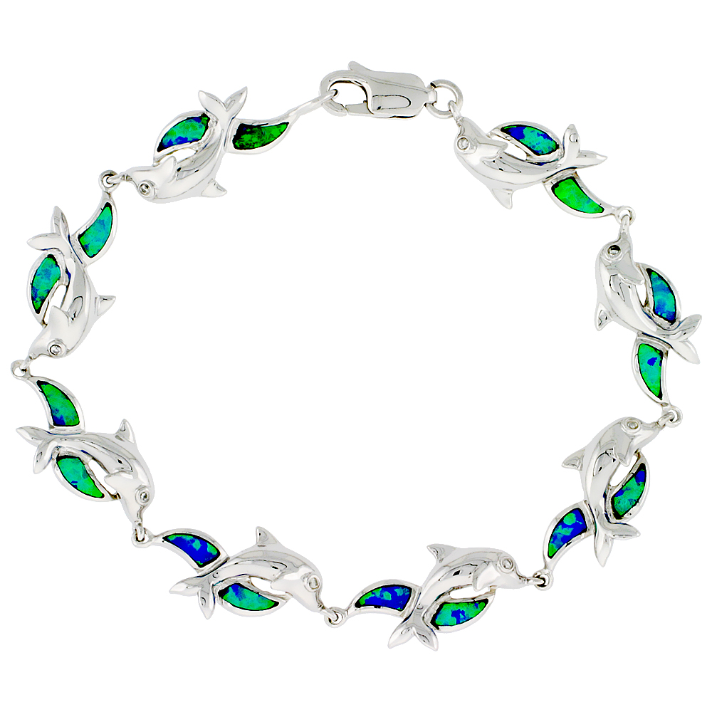Sterling Silver Dolphins Bracelet Synthetic Opal Inlay 7 1/4 inch long 3/8 inch (10 mm) Wide